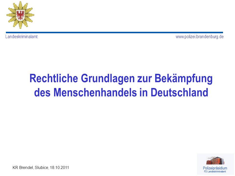 Rechtliche Grundlagen zur Bekämpfung des Menschenhandels in Deutschland