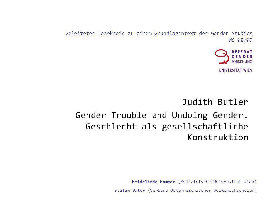 Geleiteter Lesekreis zu einem Grundlagentext der Gender Studies WS 08/09