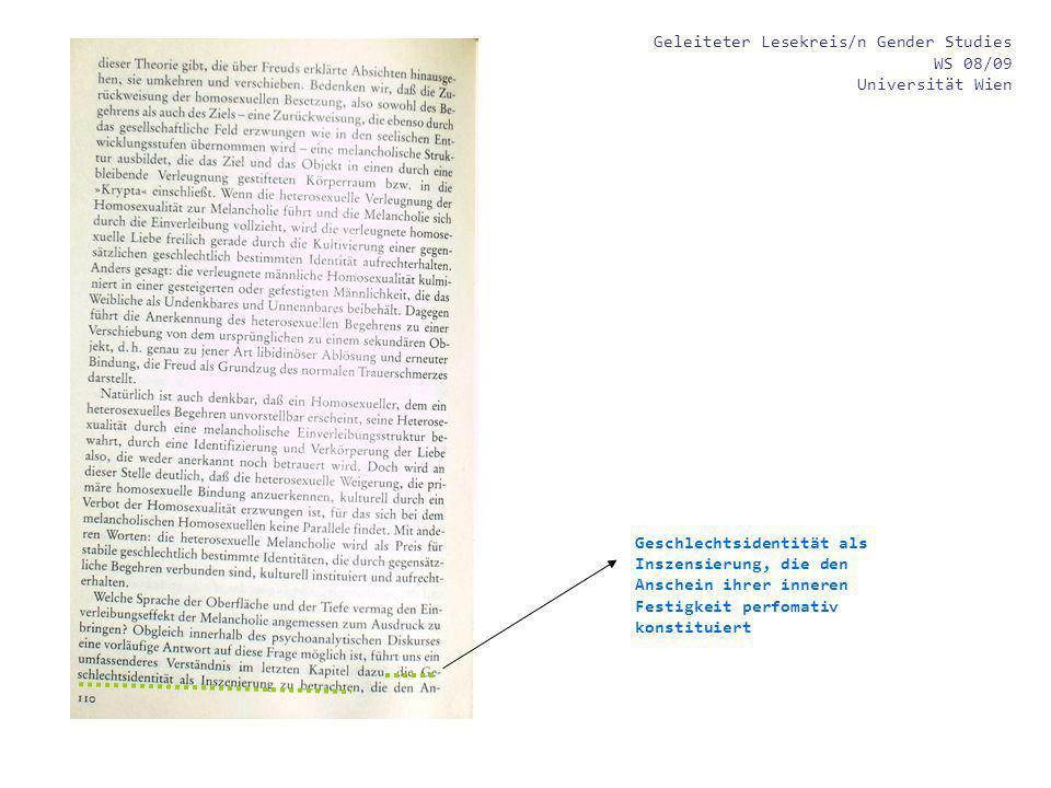 Geleiteter Lesekreis/n Gender Studies WS 08/09 Universität Wien