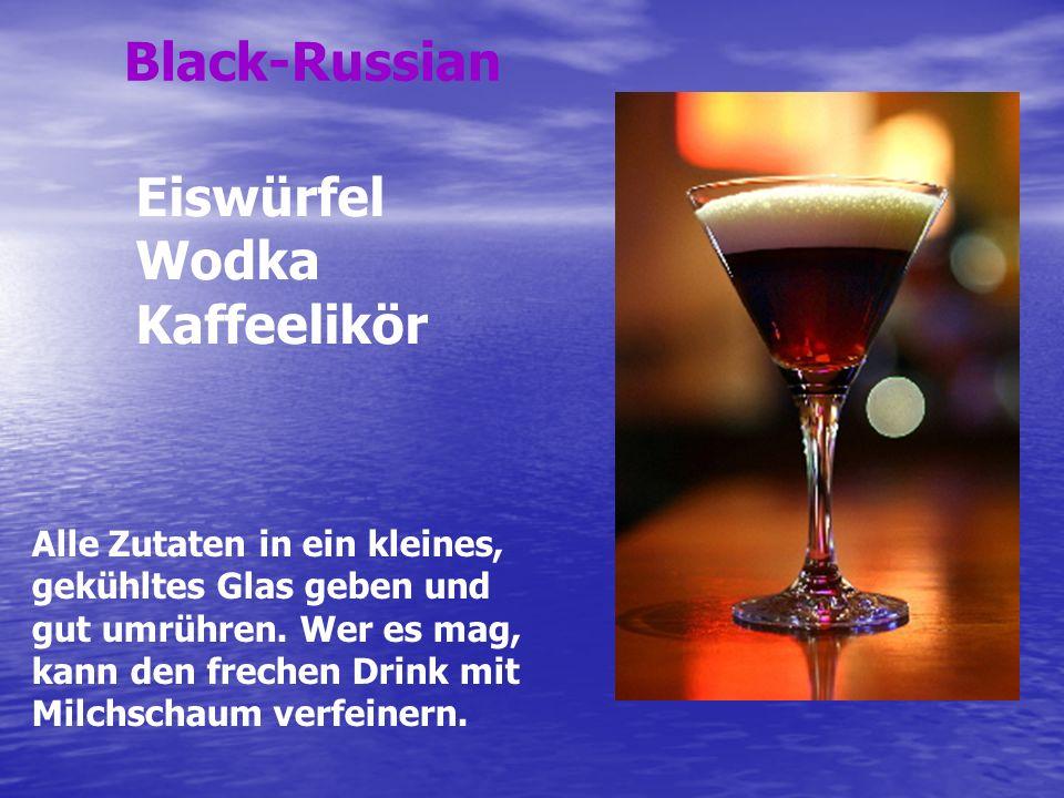 Black-Russian Eiswürfel Wodka Kaffeelikör