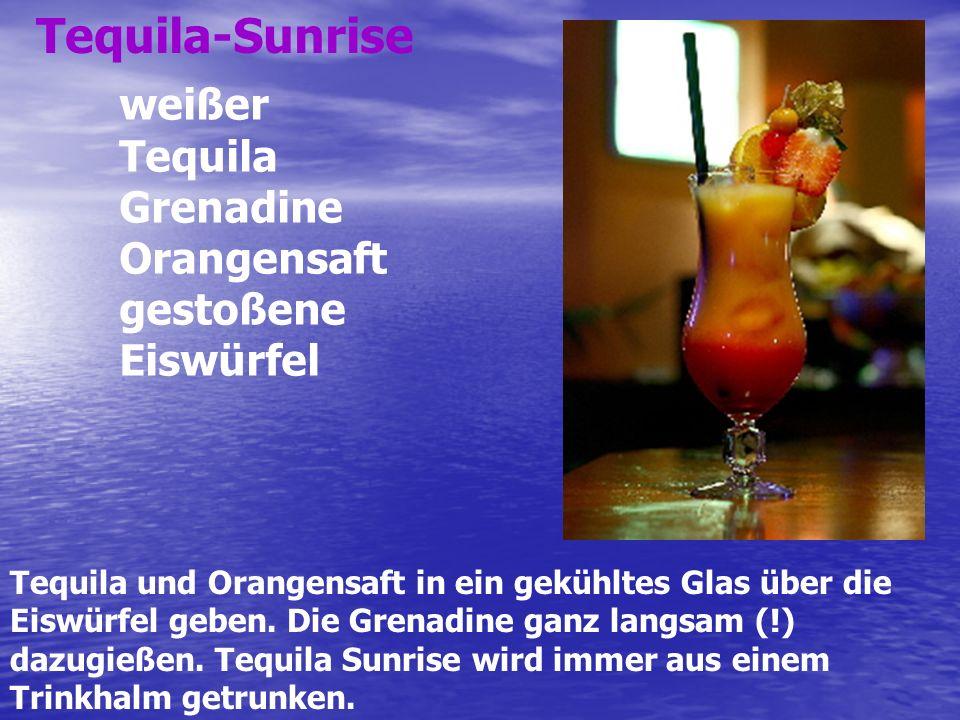 Tequila-Sunrise weißer Tequila Grenadine Orangensaft