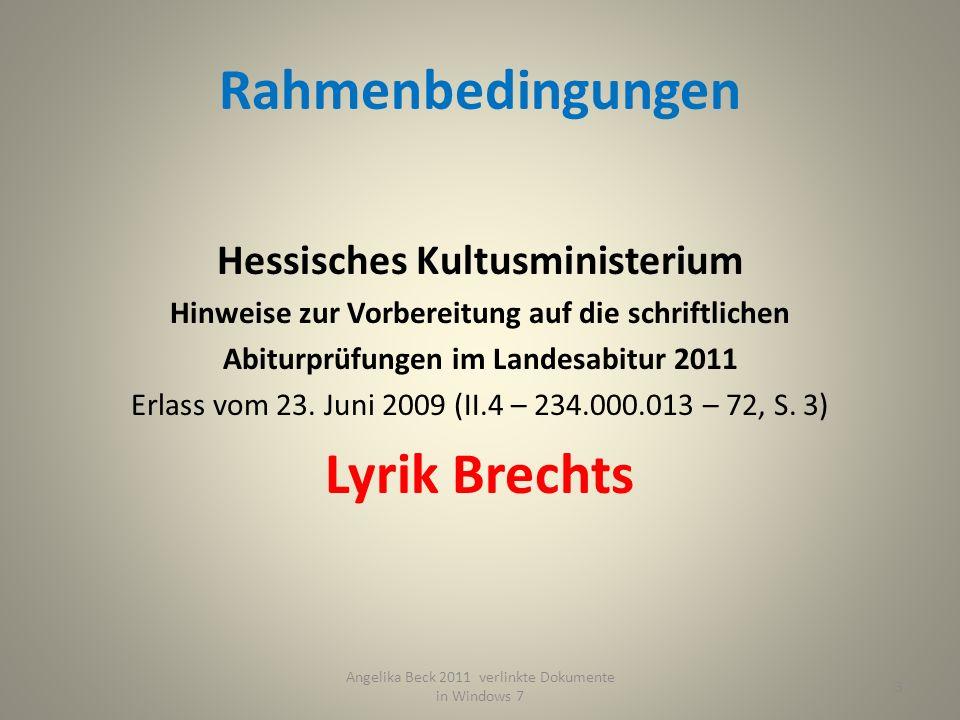 Rahmenbedingungen Lyrik Brechts
