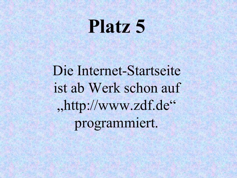 """Platz 5 Die Internet-Startseite ist ab Werk schon auf """"http://www. zdf"""