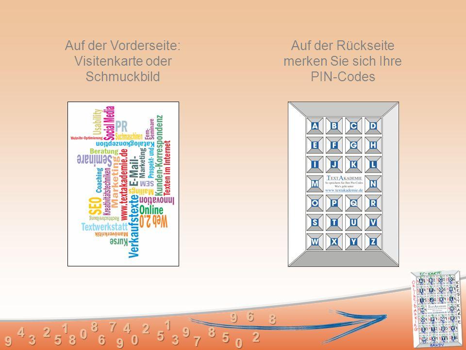 Auf der Vorderseite: Visitenkarte oder Schmuckbild