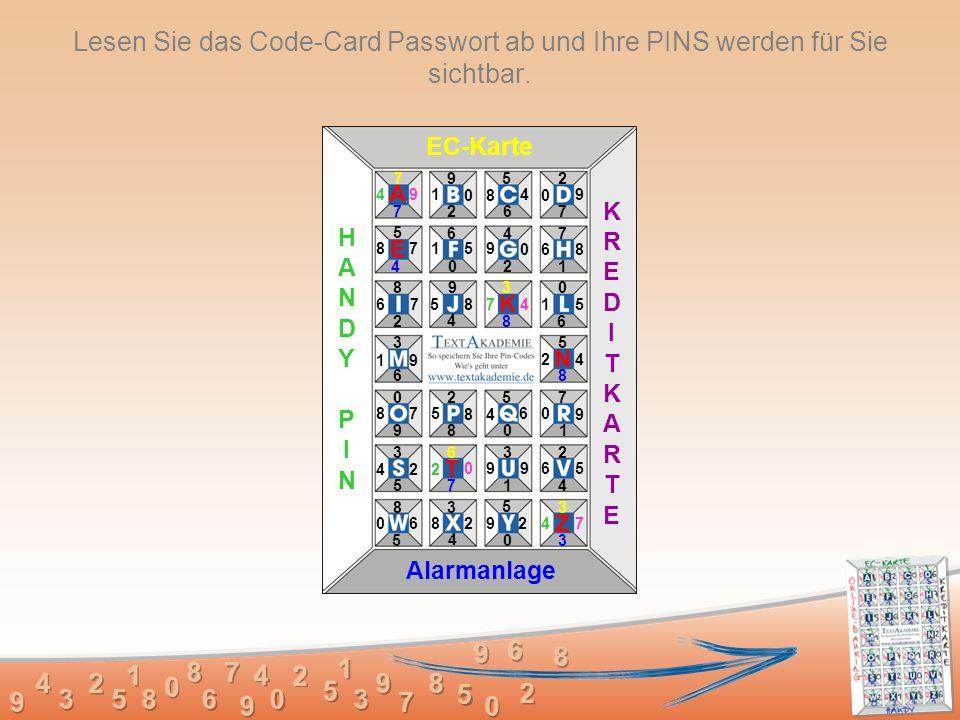 Lesen Sie das Code-Card Passwort ab und Ihre PINS werden für Sie sichtbar.