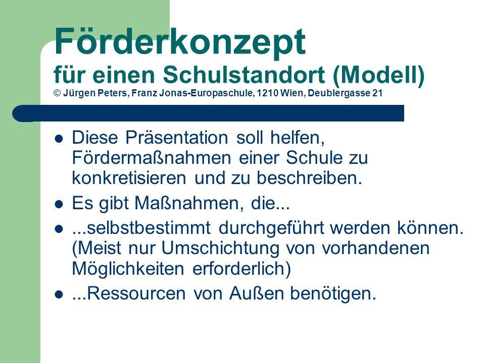 Förderkonzept für einen Schulstandort (Modell) © Jürgen Peters, Franz Jonas-Europaschule, 1210 Wien, Deublergasse 21