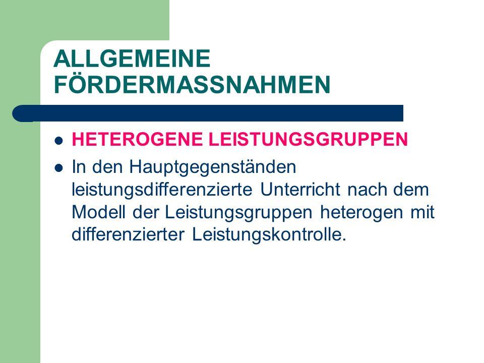 ALLGEMEINE FÖRDERMASSNAHMEN