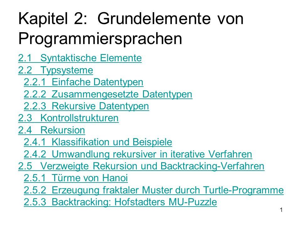 Kapitel 2: Grundelemente von Programmiersprachen