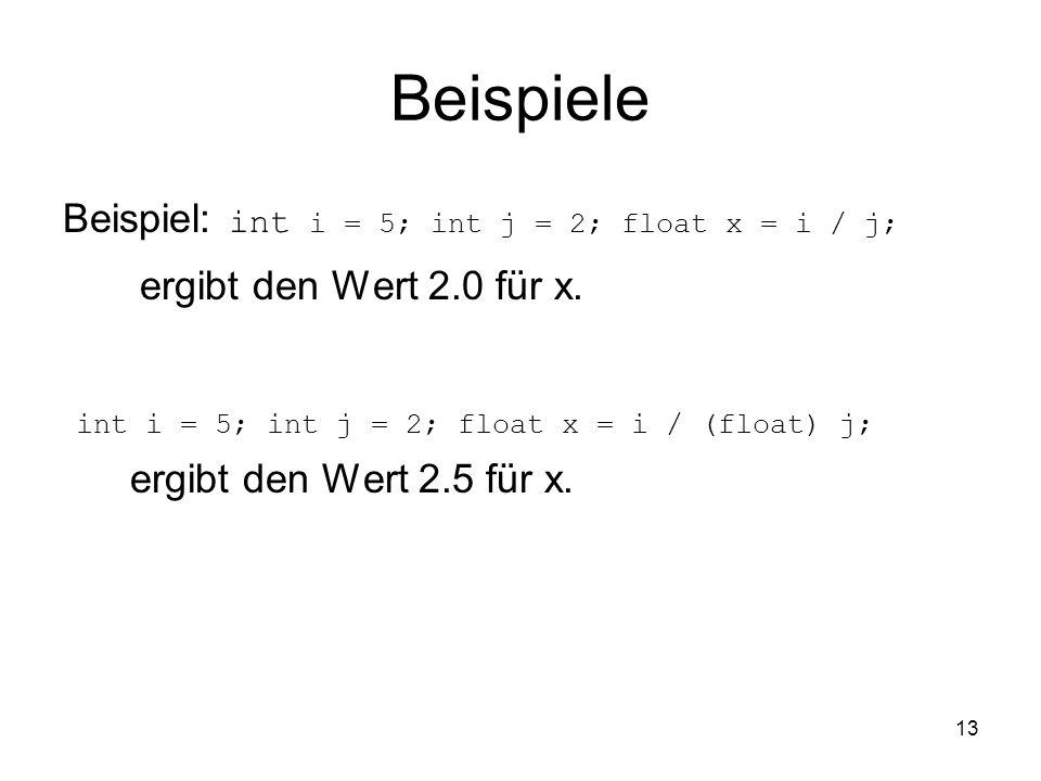 Beispiele ergibt den Wert 2.0 für x.