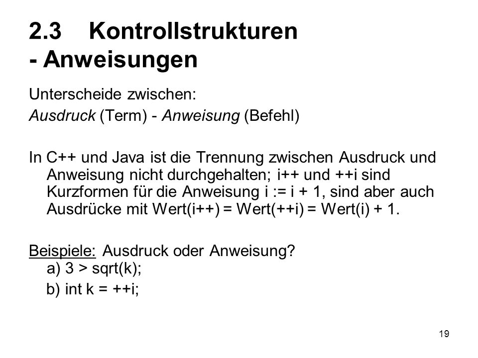 2.3 Kontrollstrukturen - Anweisungen
