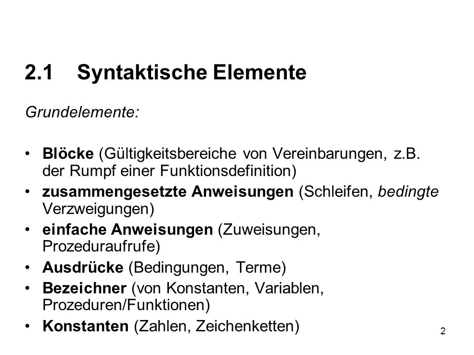 2.1 Syntaktische Elemente