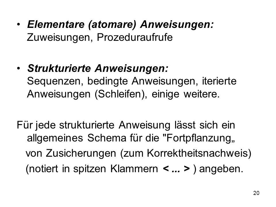 Elementare (atomare) Anweisungen: Zuweisungen, Prozeduraufrufe