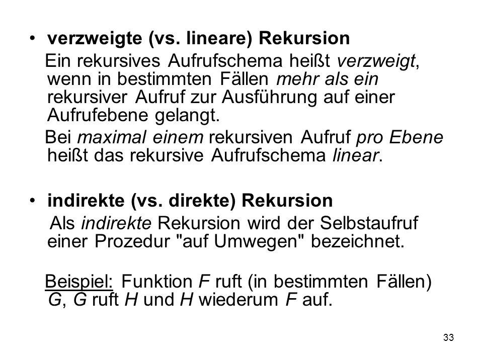 verzweigte (vs. lineare) Rekursion
