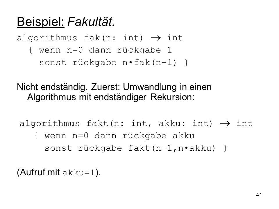 Beispiel: Fakultät. algorithmus fak(n: int)  int