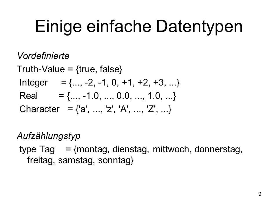 Einige einfache Datentypen