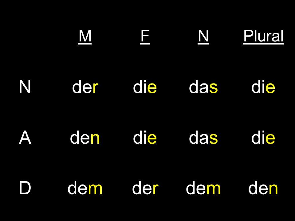 M F N Plural der die das A den D dem