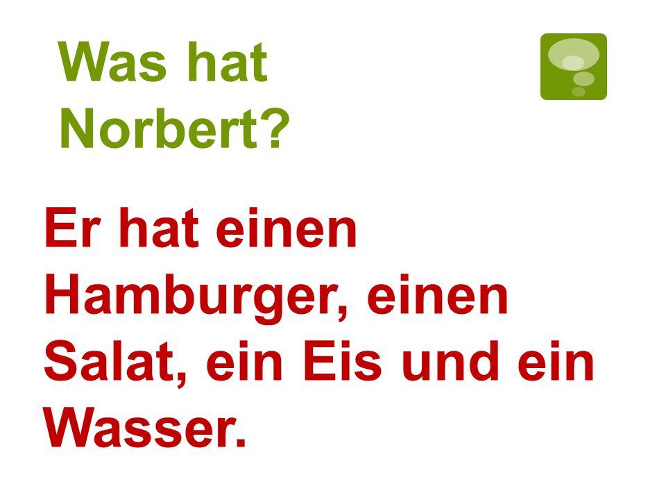 Was hat Norbert Er hat einen Hamburger, einen Salat, ein Eis und ein Wasser.