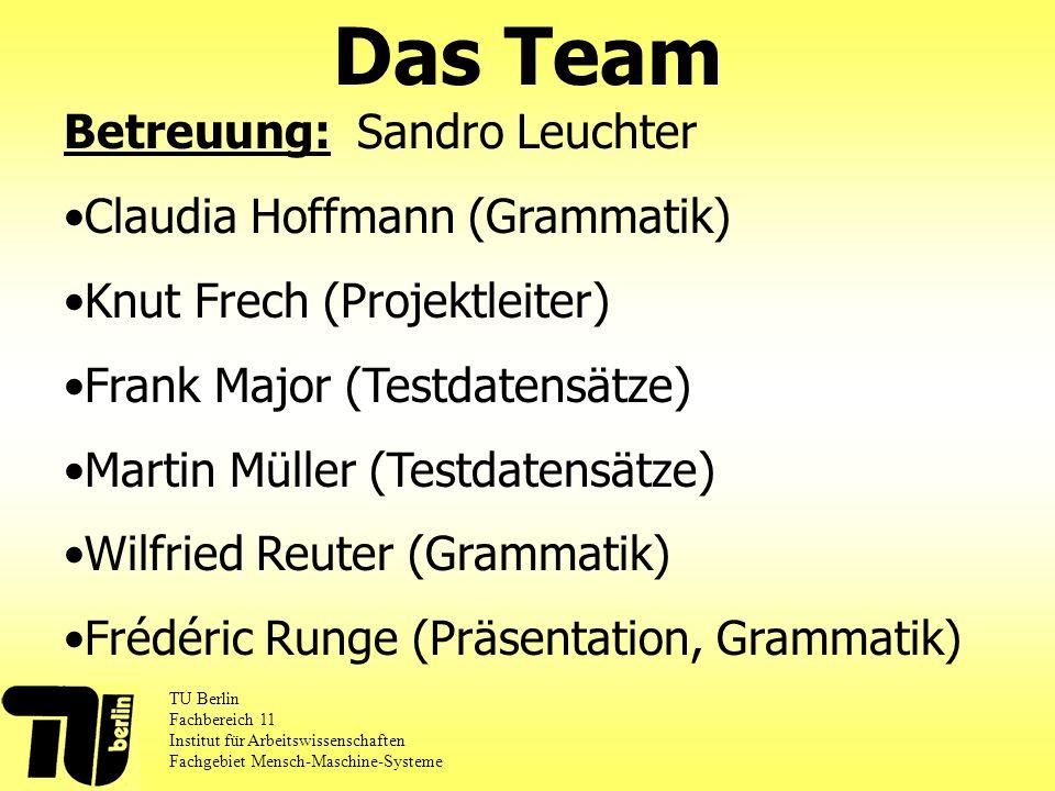 Das Team Betreuung: Sandro Leuchter Claudia Hoffmann (Grammatik)