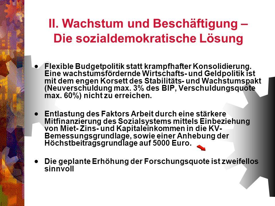 II. Wachstum und Beschäftigung – Die sozialdemokratische Lösung
