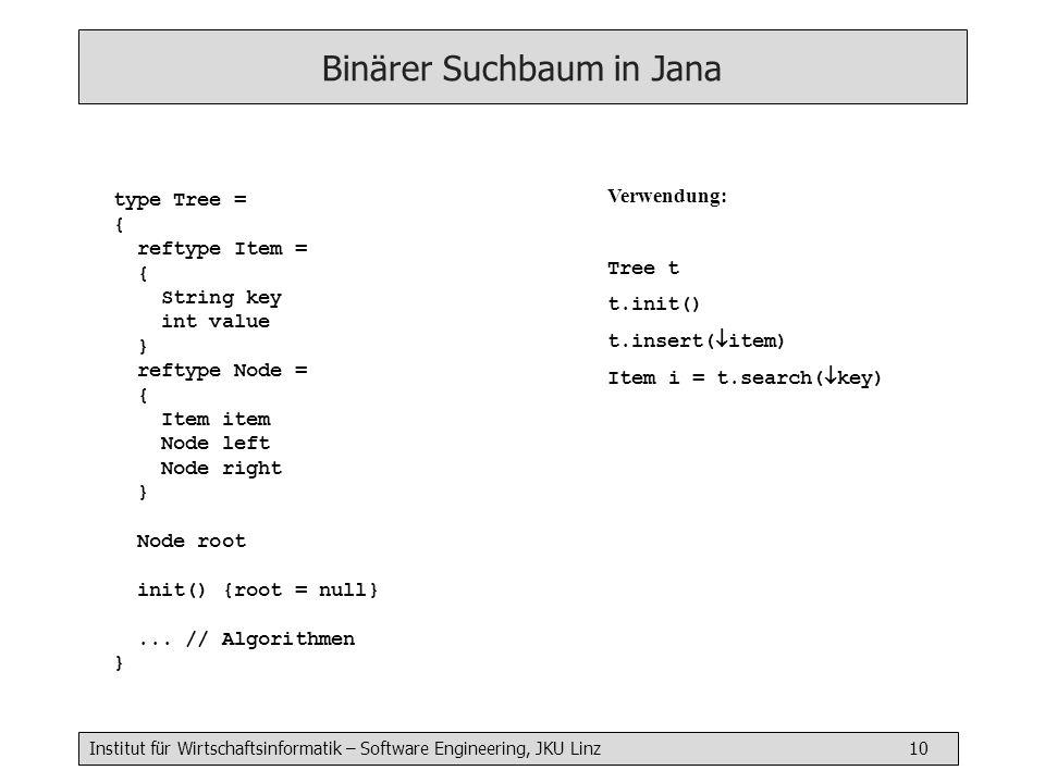 Binärer Suchbaum in Jana