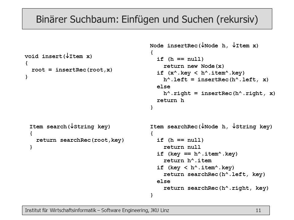 Binärer Suchbaum: Einfügen und Suchen (rekursiv)