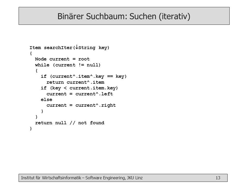 Binärer Suchbaum: Suchen (iterativ)
