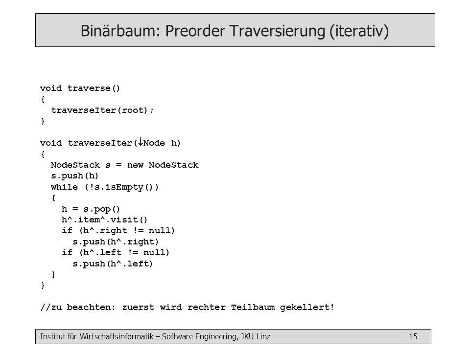 Binärbaum: Preorder Traversierung (iterativ)