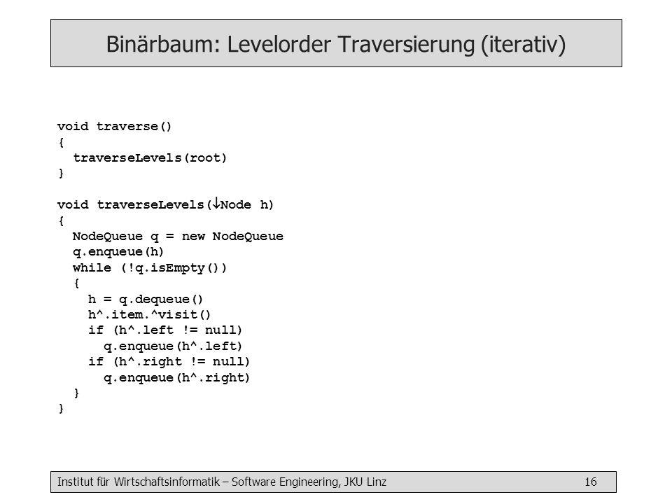 Binärbaum: Levelorder Traversierung (iterativ)