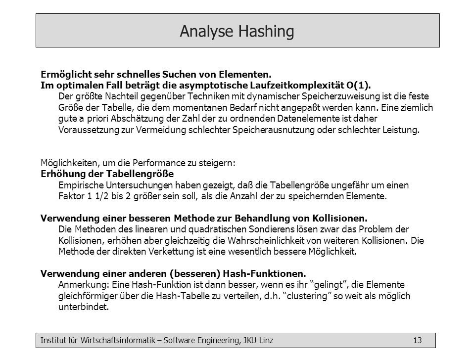 Analyse Hashing Ermöglicht sehr schnelles Suchen von Elementen.