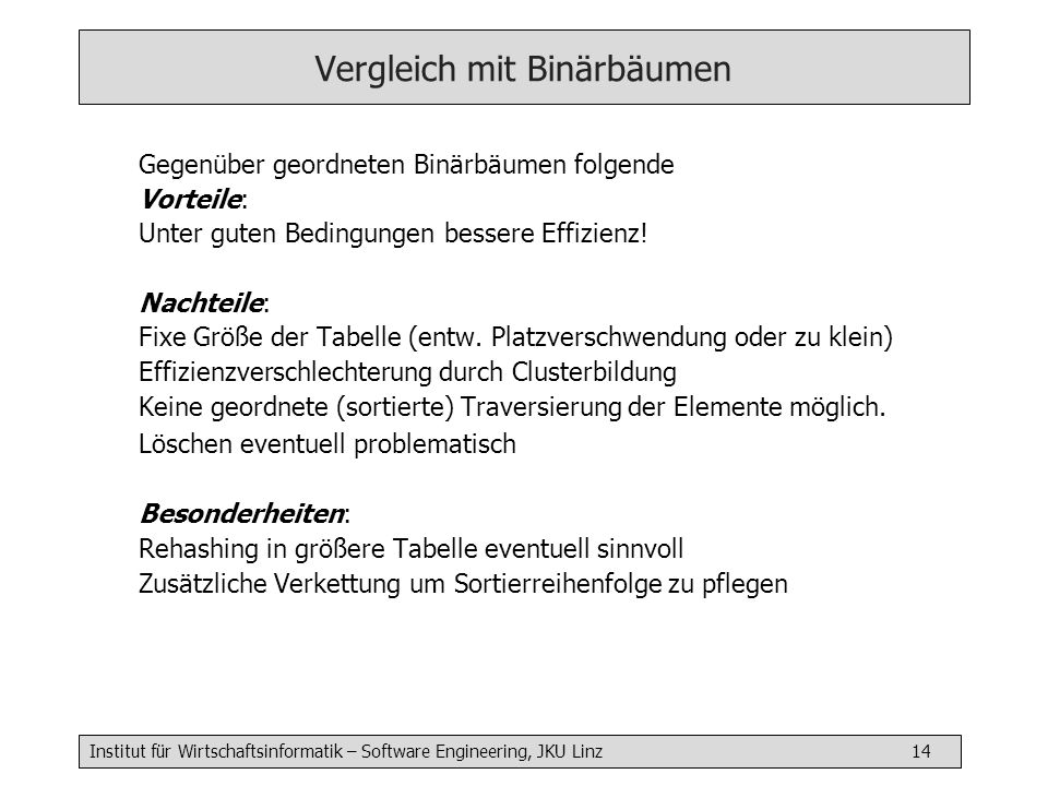 Vergleich mit Binärbäumen
