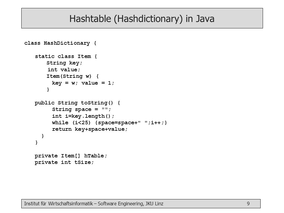 Hashtable (Hashdictionary) in Java