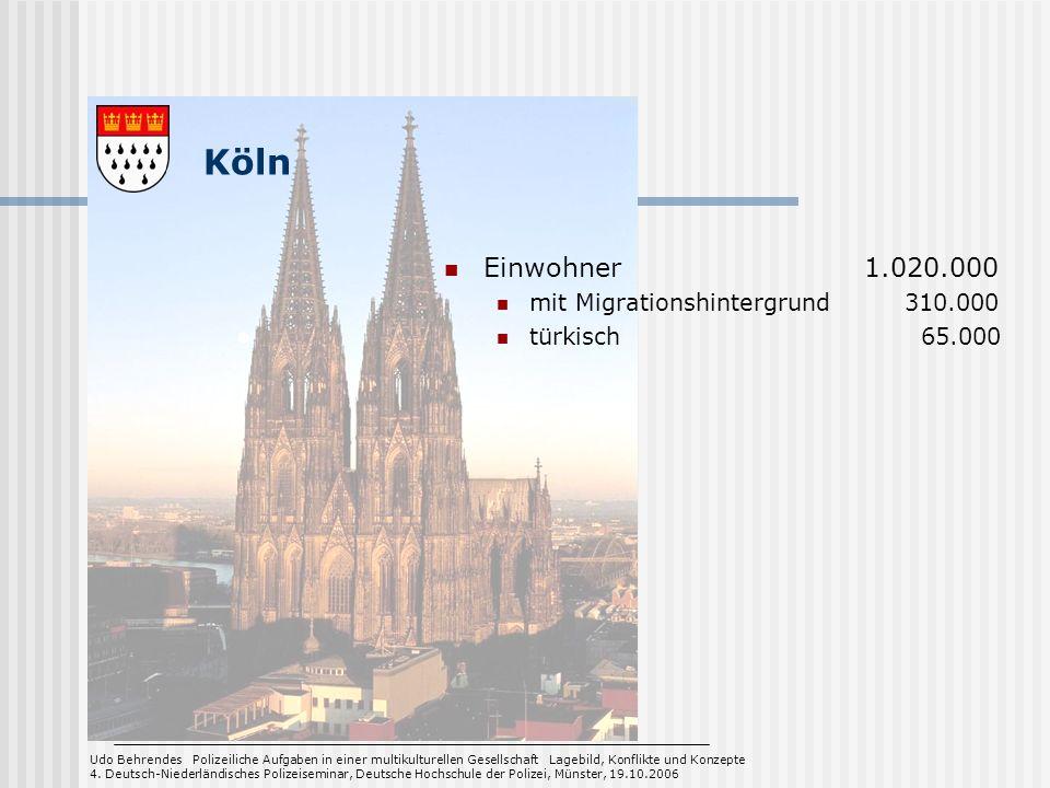 Köln Einwohner 1.020.000 mit Migrationshintergrund 310.000