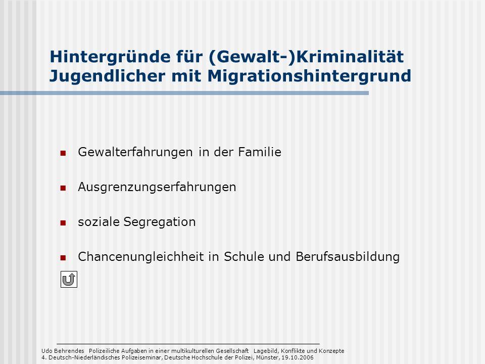 Hintergründe für (Gewalt-)Kriminalität Jugendlicher mit Migrationshintergrund