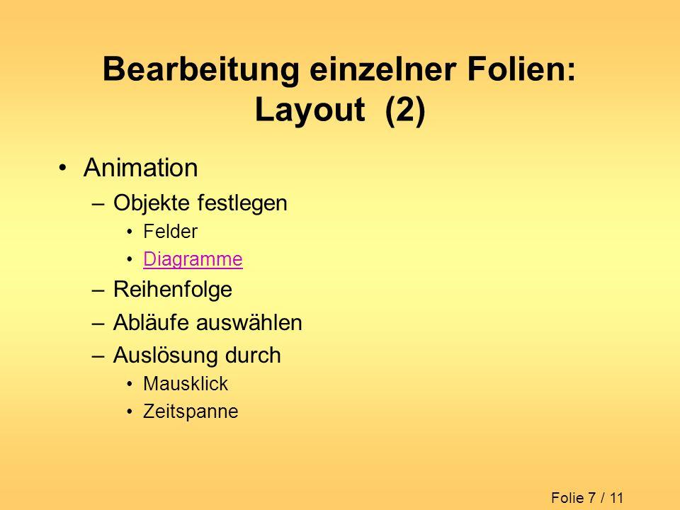 Bearbeitung einzelner Folien: Layout (2)