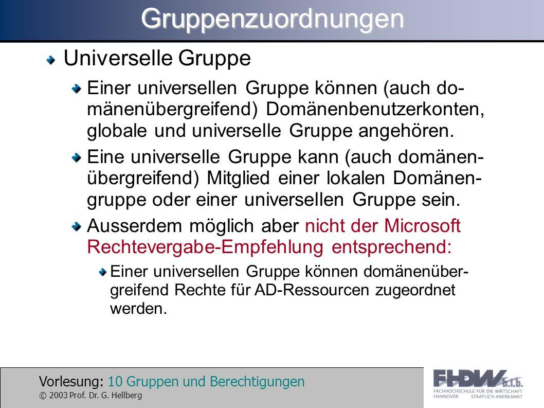 Gruppenzuordnungen Universelle Gruppe