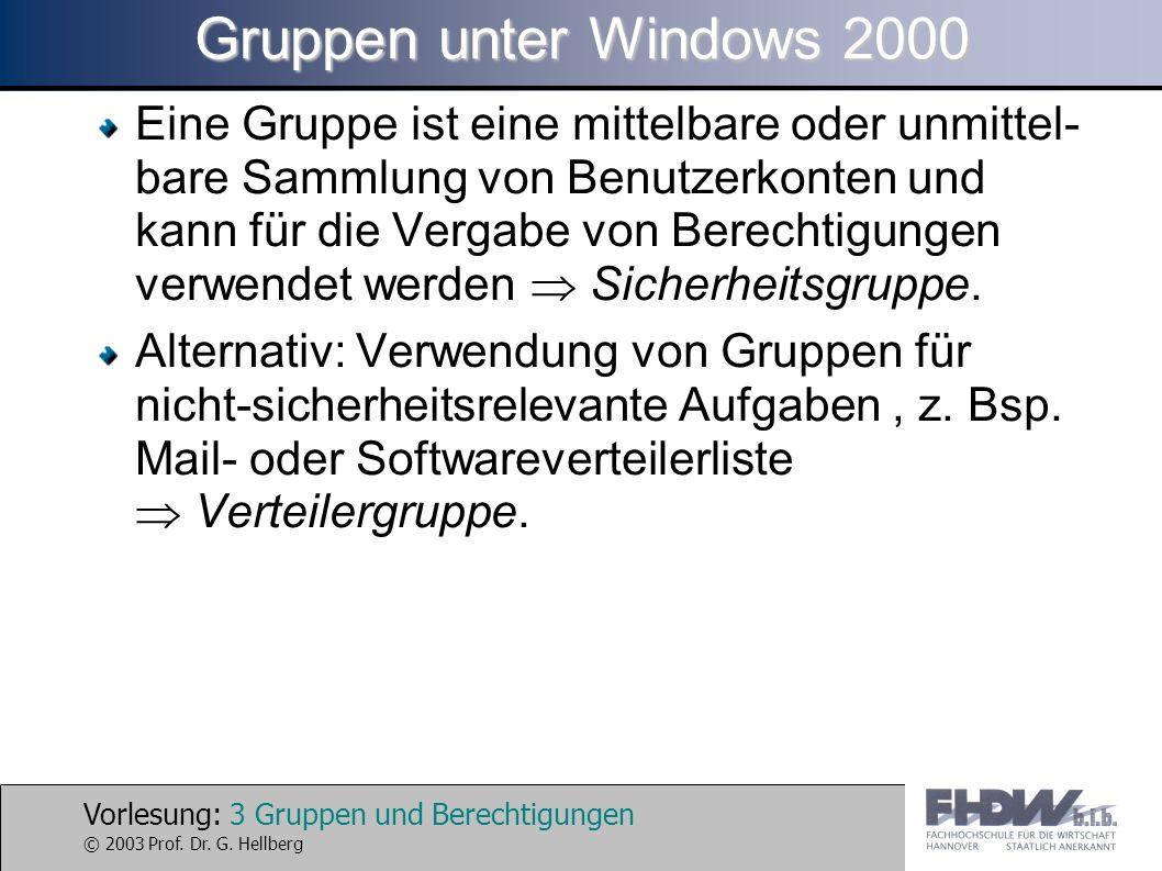 Gruppen unter Windows 2000