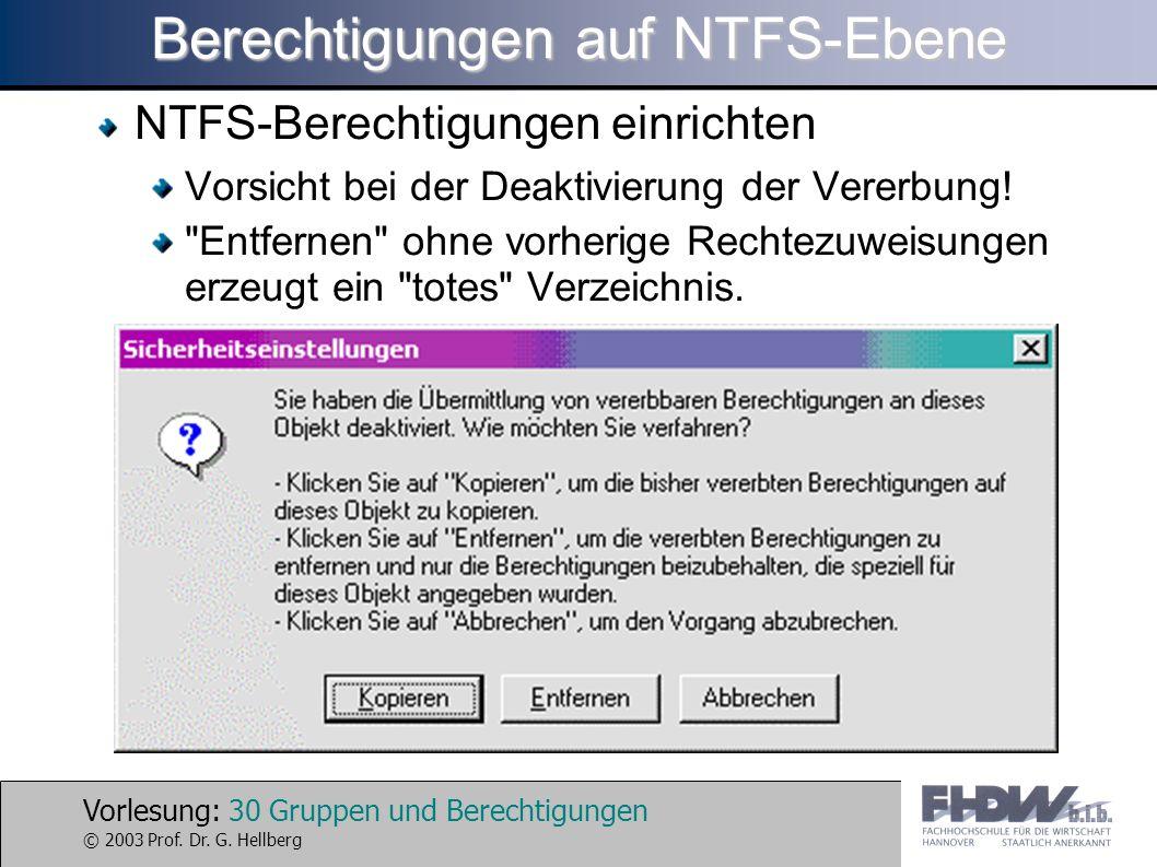 Berechtigungen auf NTFS-Ebene