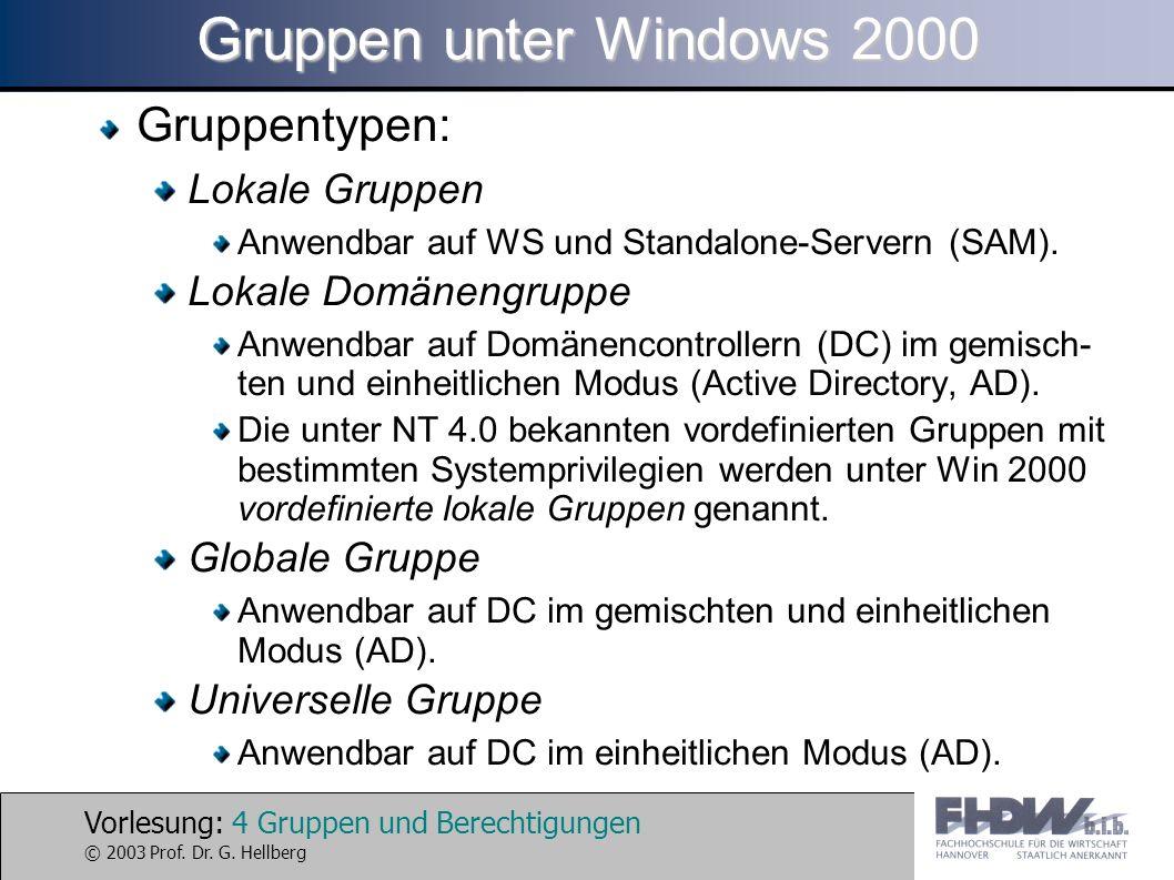 Gruppen unter Windows 2000 Gruppentypen: Lokale Gruppen
