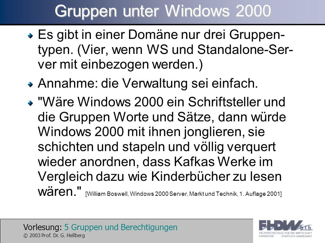 Gruppen unter Windows 2000 Es gibt in einer Domäne nur drei Gruppen-typen. (Vier, wenn WS und Standalone-Ser-ver mit einbezogen werden.)