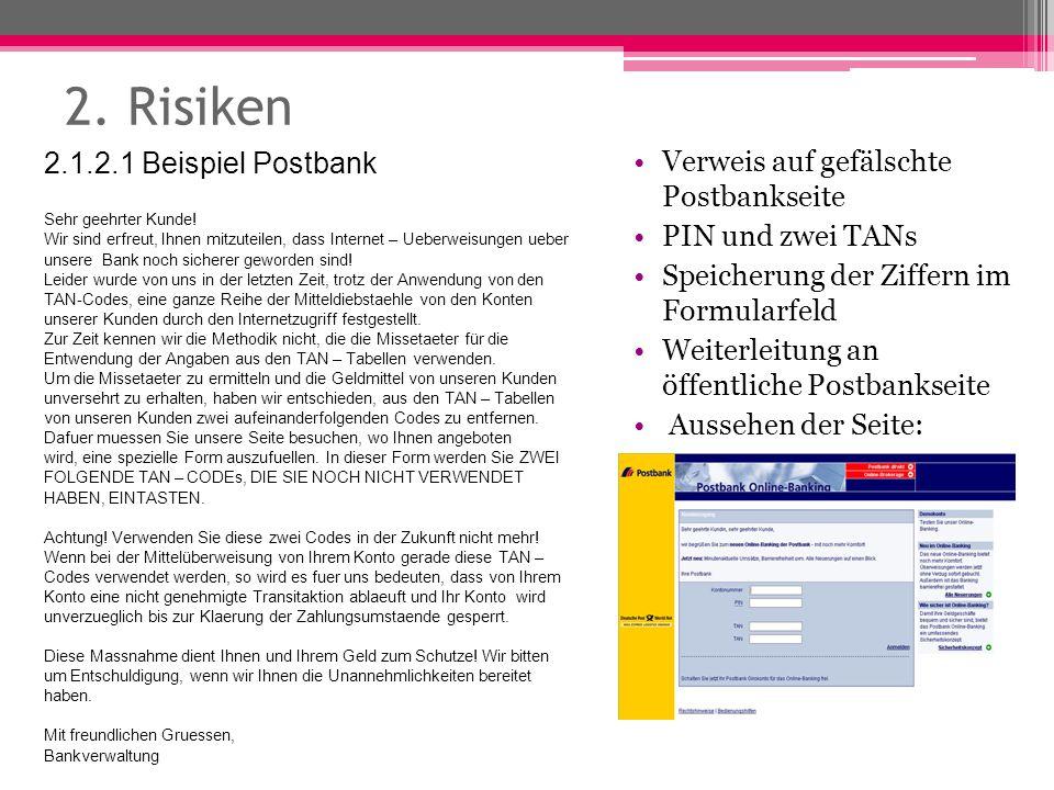 2. Risiken Verweis auf gefälschte Postbankseite