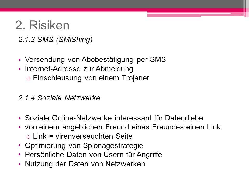 2. Risiken 2.1.3 SMS (SMiShing) Versendung von Abobestätigung per SMS