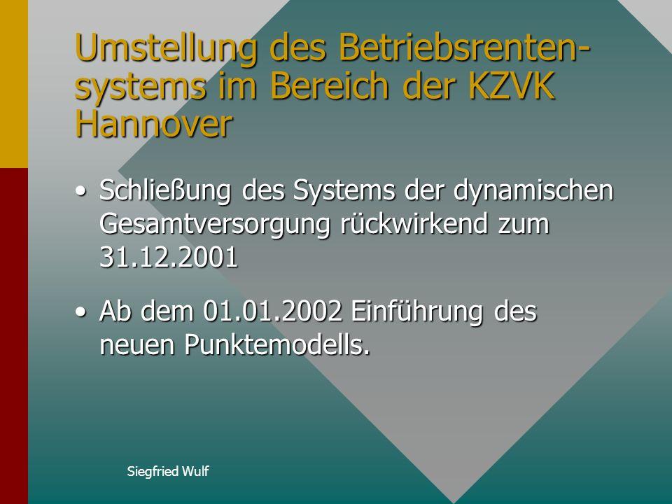 Umstellung des Betriebsrenten-systems im Bereich der KZVK Hannover
