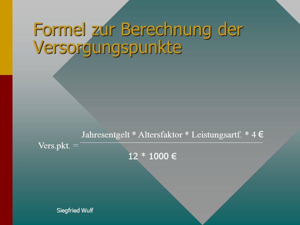 Formel zur Berechnung der Versorgungspunkte