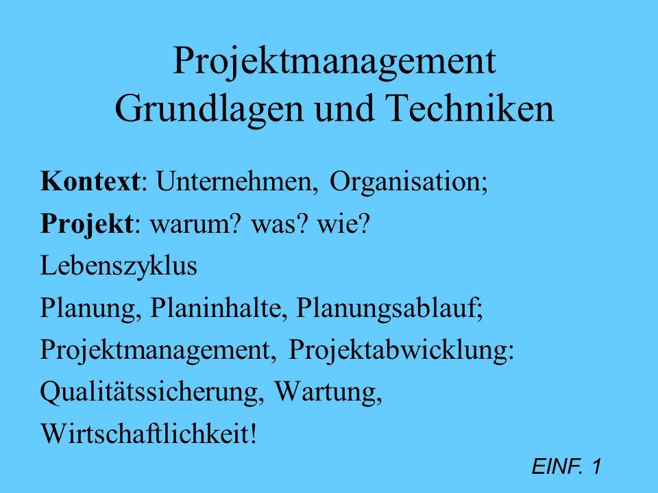 Projektmanagement Grundlagen und Techniken