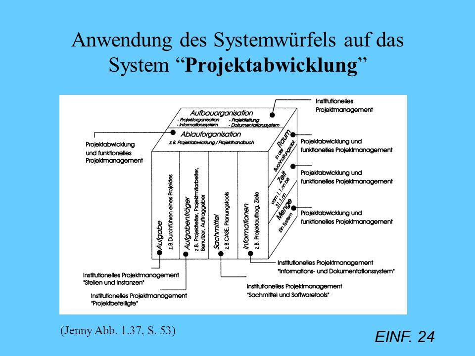 Anwendung des Systemwürfels auf das System Projektabwicklung