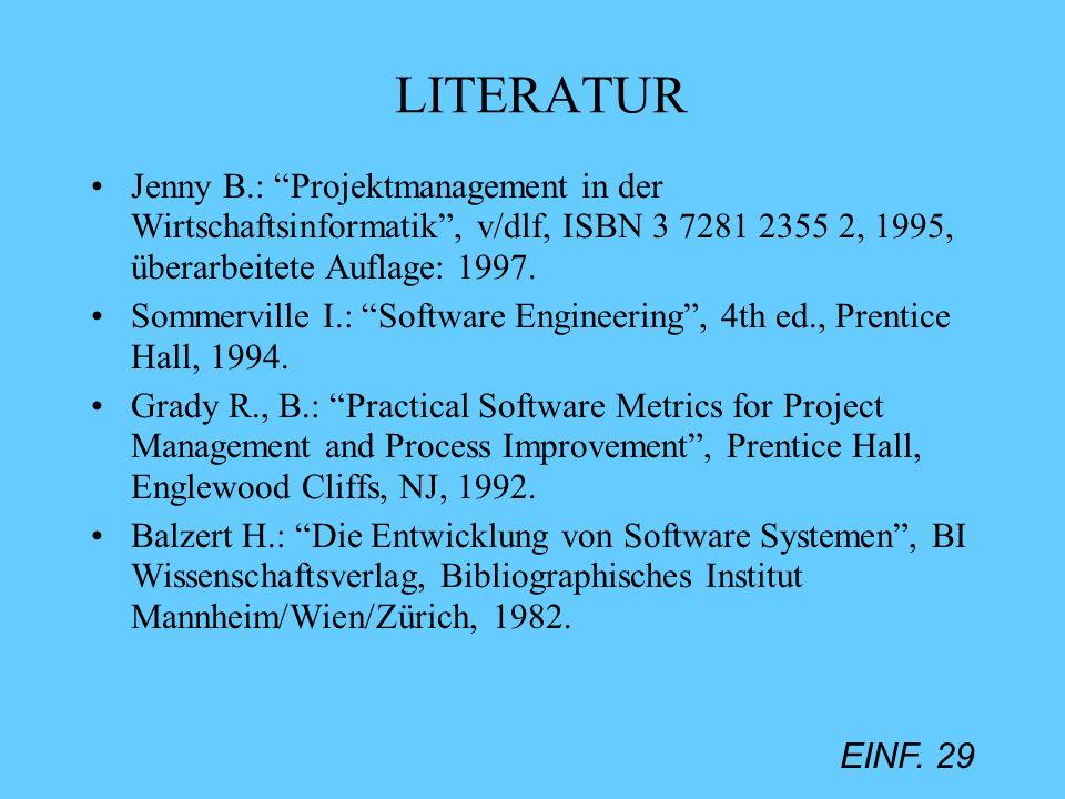 LITERATUR Jenny B.: Projektmanagement in der Wirtschaftsinformatik , v/dlf, ISBN 3 7281 2355 2, 1995, überarbeitete Auflage: 1997.