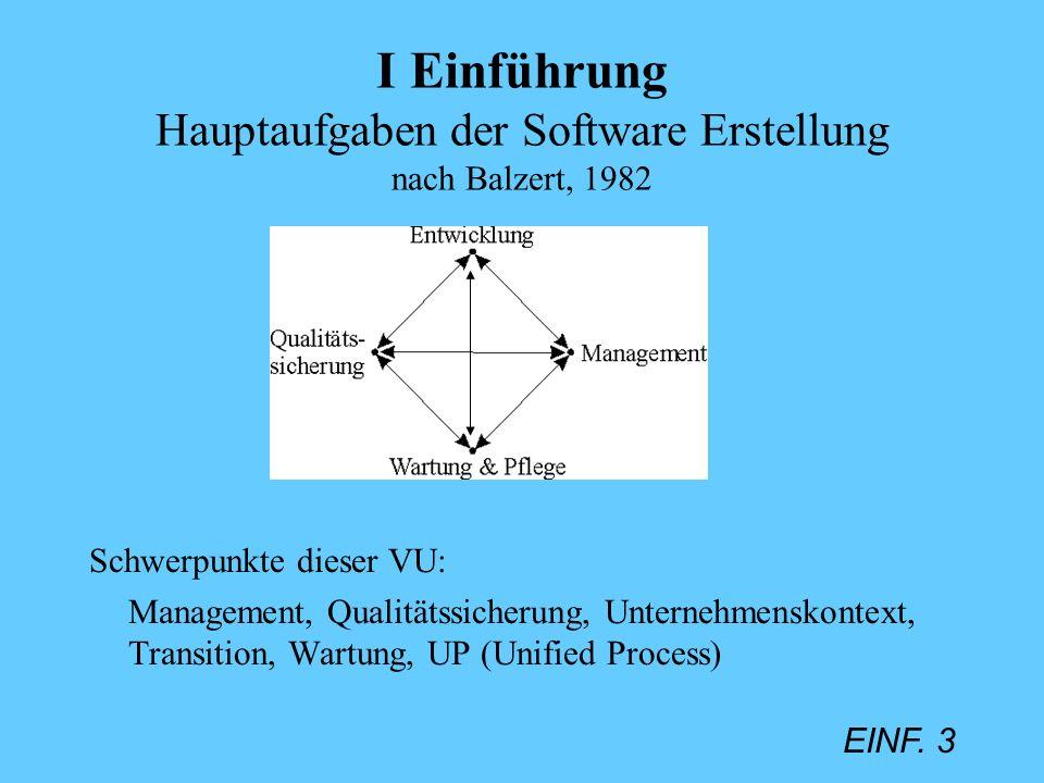 I Einführung Hauptaufgaben der Software Erstellung nach Balzert, 1982
