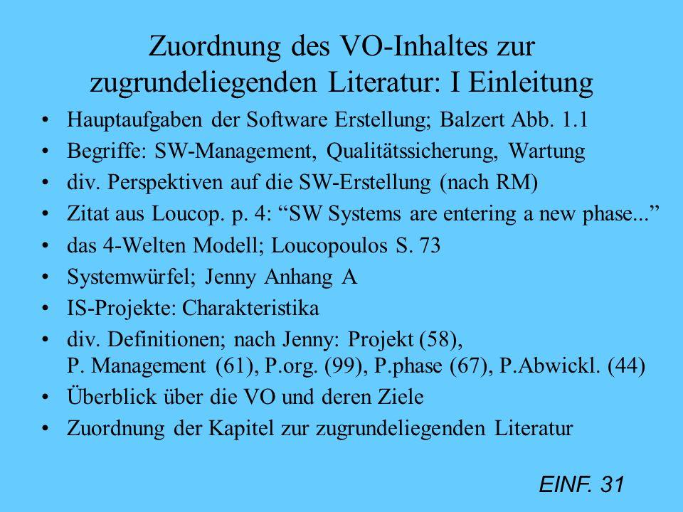 Zuordnung des VO-Inhaltes zur zugrundeliegenden Literatur: I Einleitung