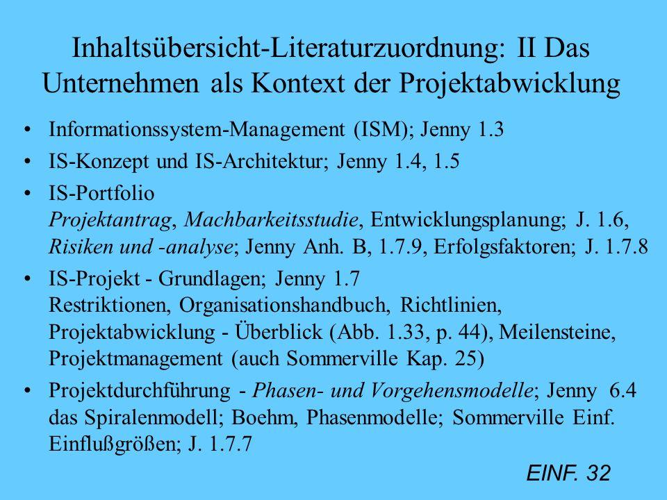 Inhaltsübersicht-Literaturzuordnung: II Das Unternehmen als Kontext der Projektabwicklung