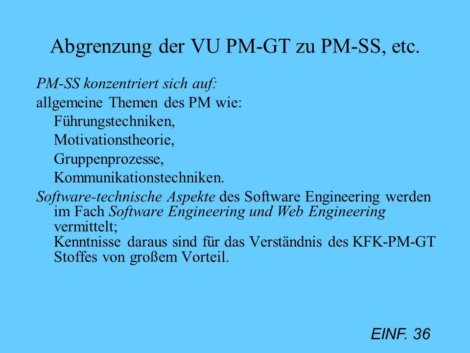 Abgrenzung der VU PM-GT zu PM-SS, etc.